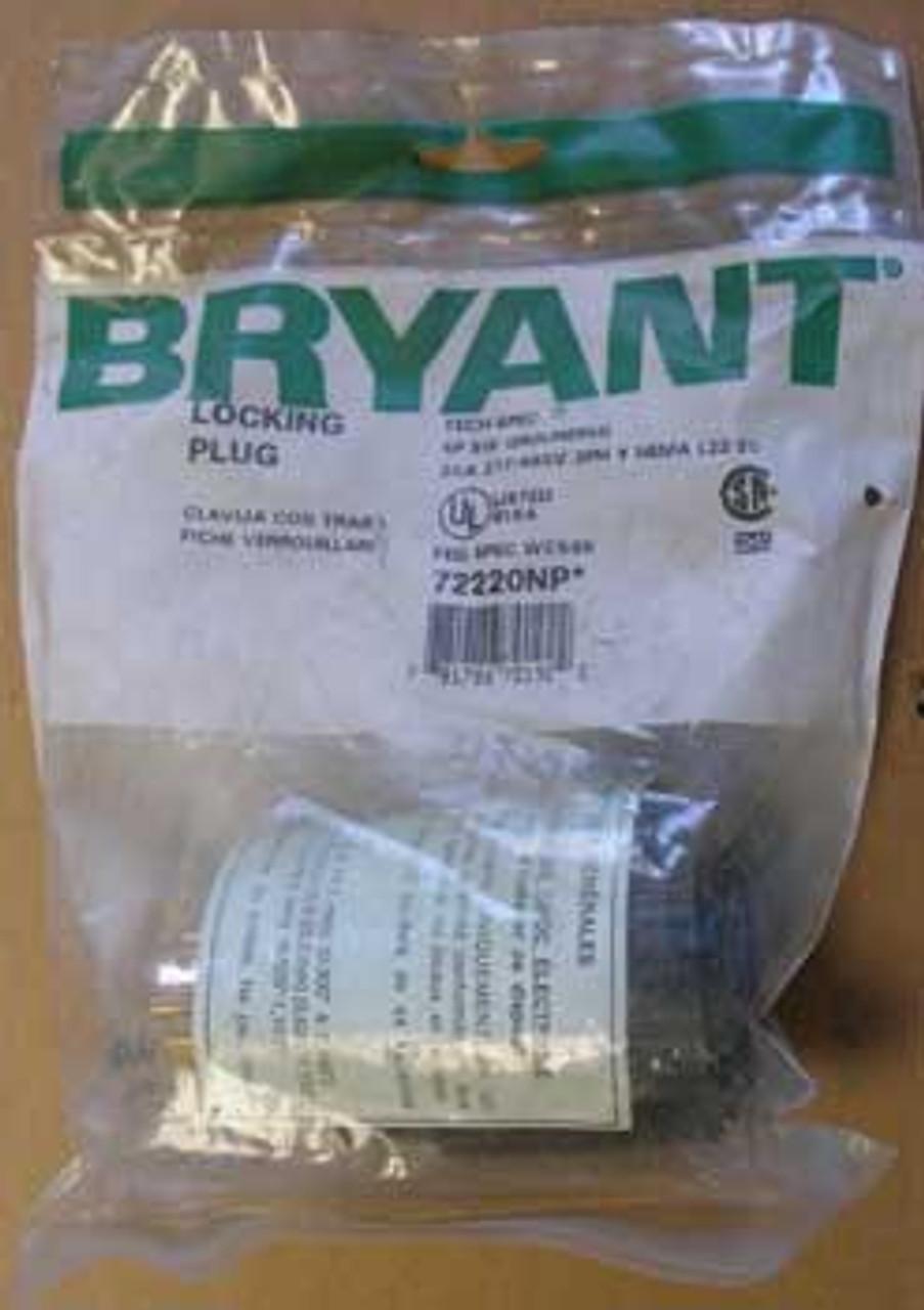 Bryant 72220-NP 20 Amp 277/480 Volt 3 Phase Locking Plug - New