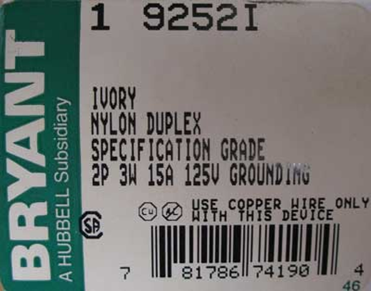 Bryant 9252I 2 Pole 3 Wire 15 Amp Ivory Duplex Receptacle (Box of 5) - New