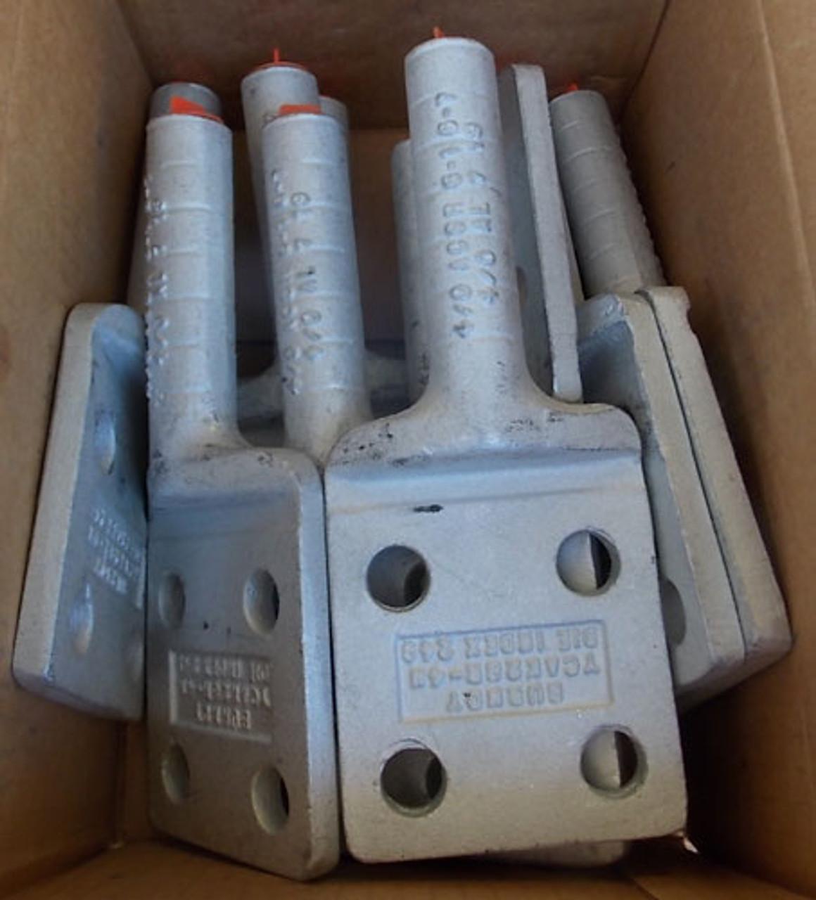 """Burndy YCAK28R4N 4/0 AL 4 Hole 1/2"""" Stud Terminal Lug Nema (Lot of 2) - New"""