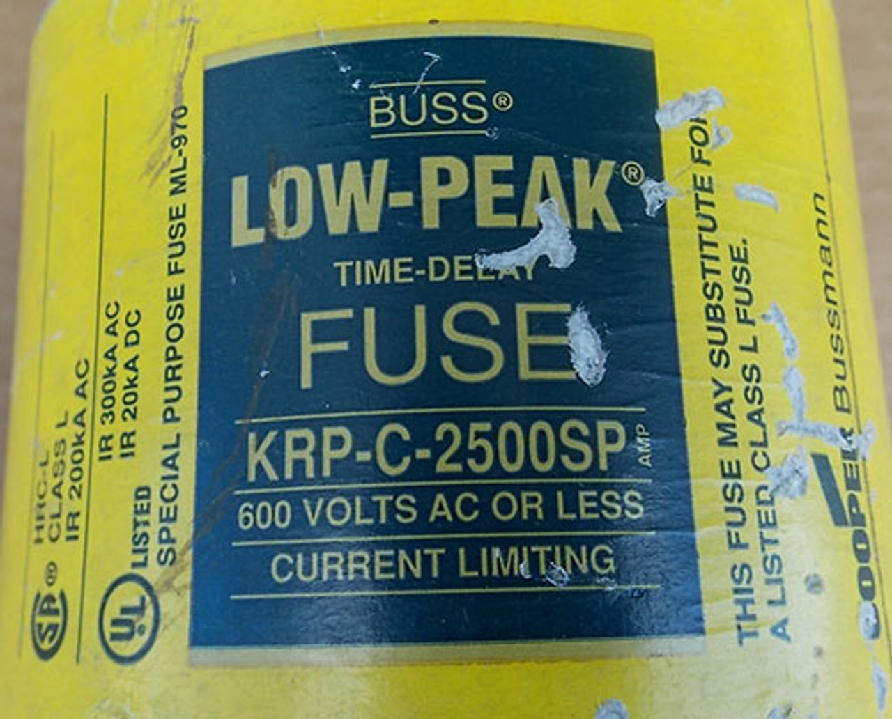 Buss KRP-C2500SP 2500A 600VAC Class L Low-Peak Time Delay Fuse Used
