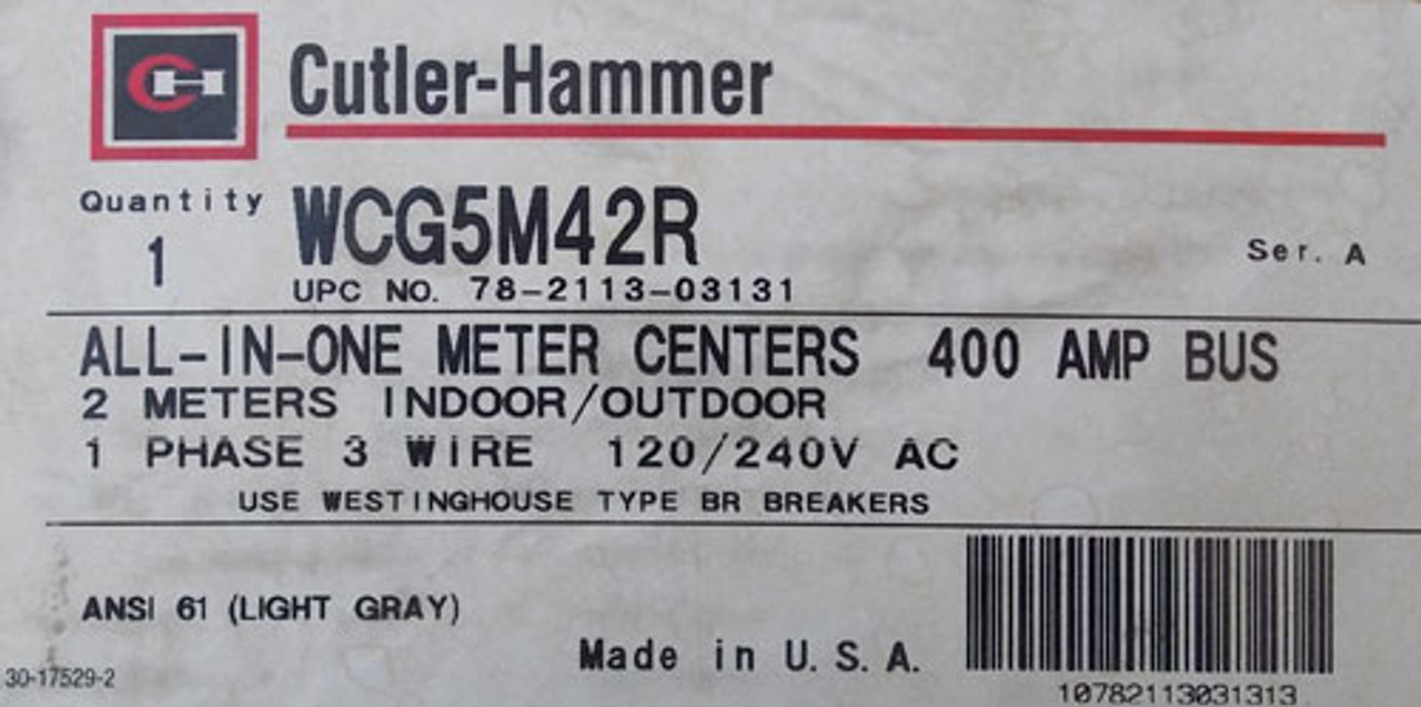 CH WCG5M42R 400A 120/240VAC 1Ph 2 Meters All-In-One Meter Centers N3R - New
