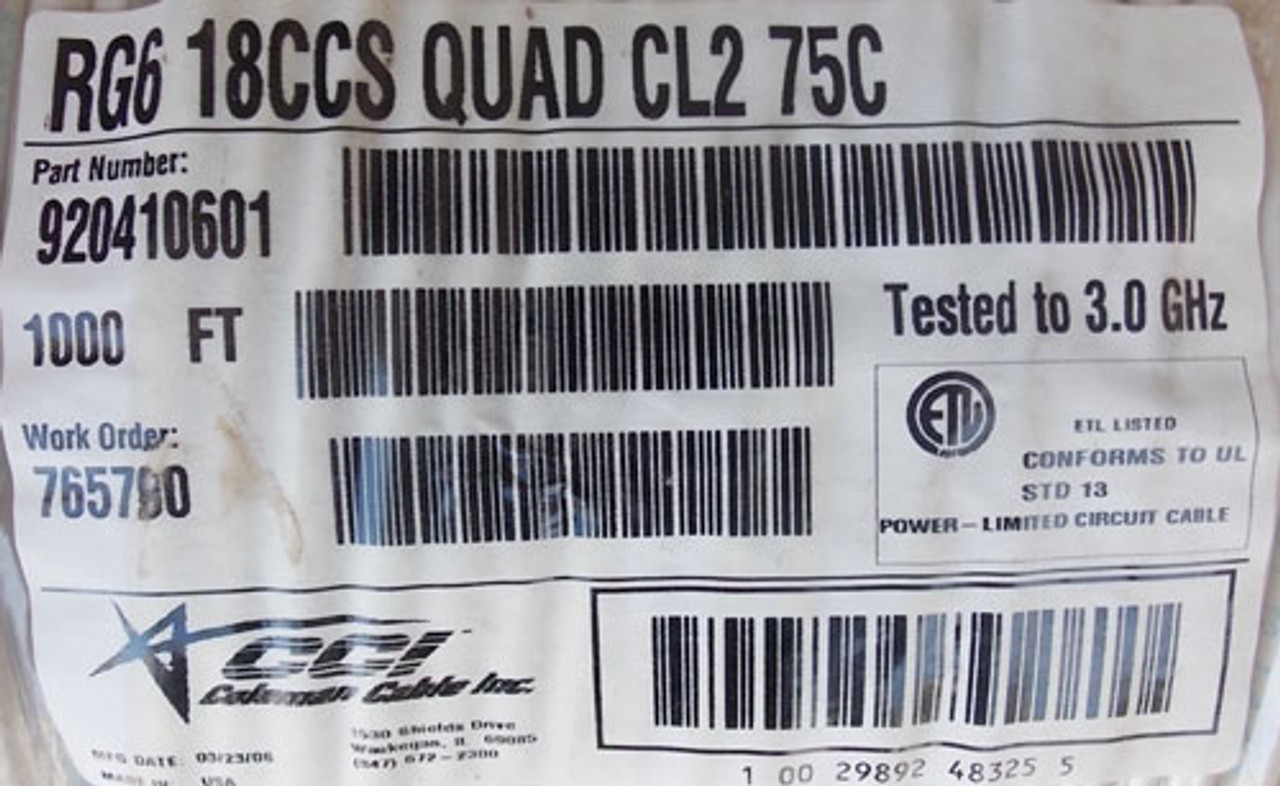 Coleman 920410601 1000' 18 AWG RG6 Quad Shield CL2 Video Cable, White - New
