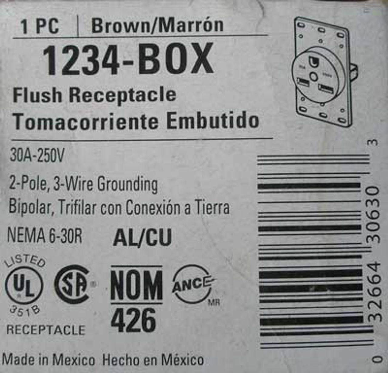 Cooper 1234-Box Brown Flush Receptacle 30 Amp 250 Volt - New