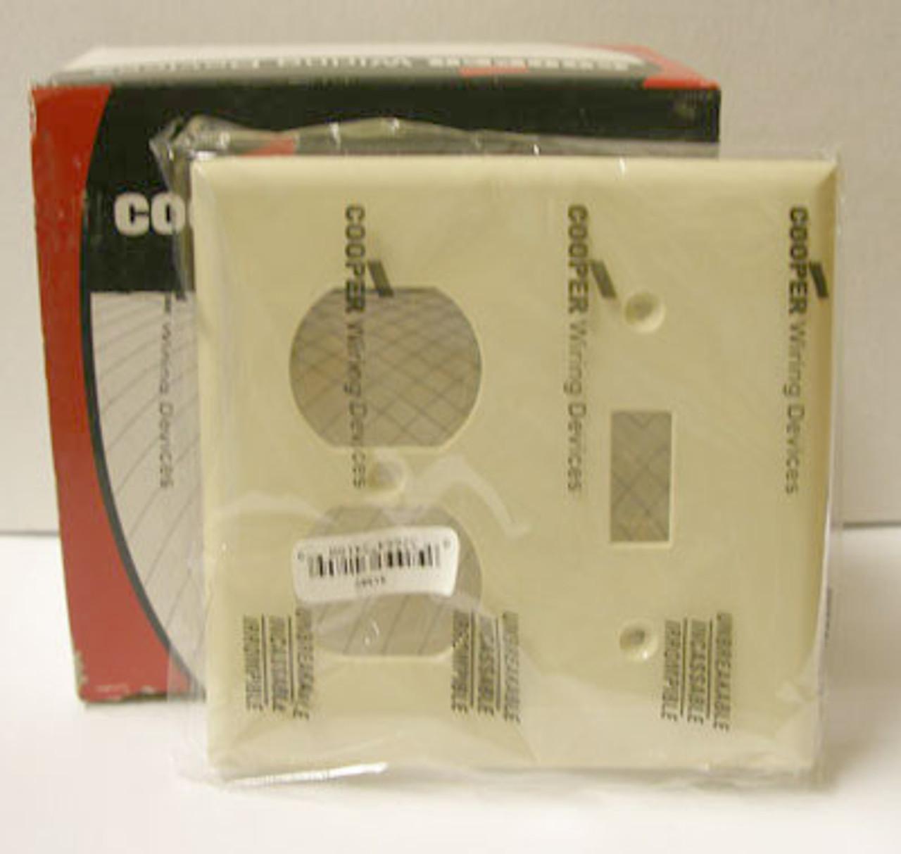 Cooper 5138V 2 Gang Ivory Hosp Combo Plate (Lot of 20) - New