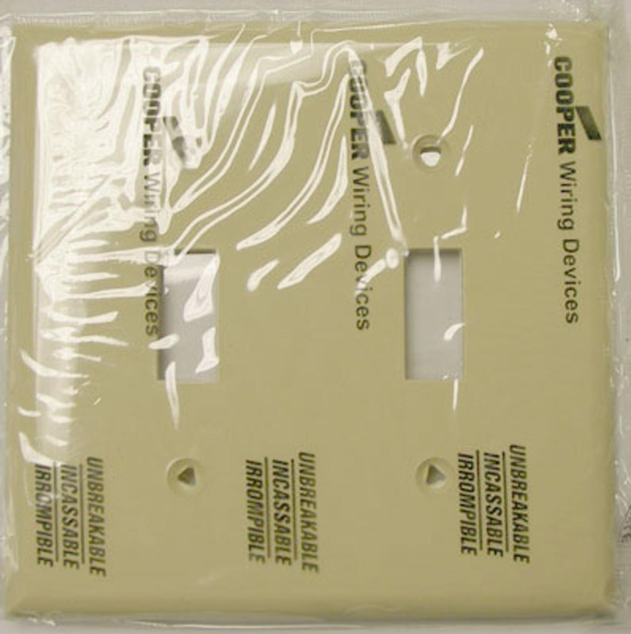 Cooper 5139V 2 Gang Ivory Hosp Switch Plate (Lot of 25) - New