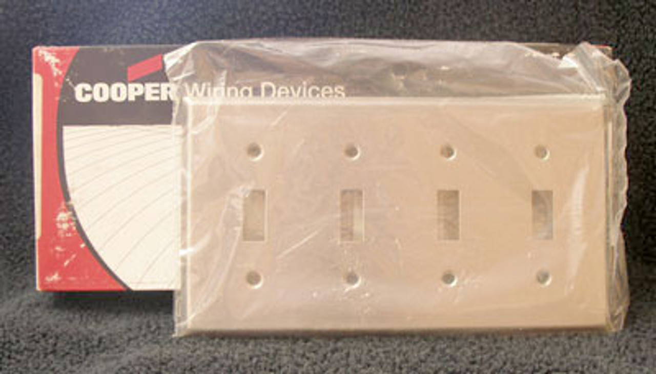 Cooper 93074 4 Gang Stainless Steel Switch Plate (Lot of 5) - New