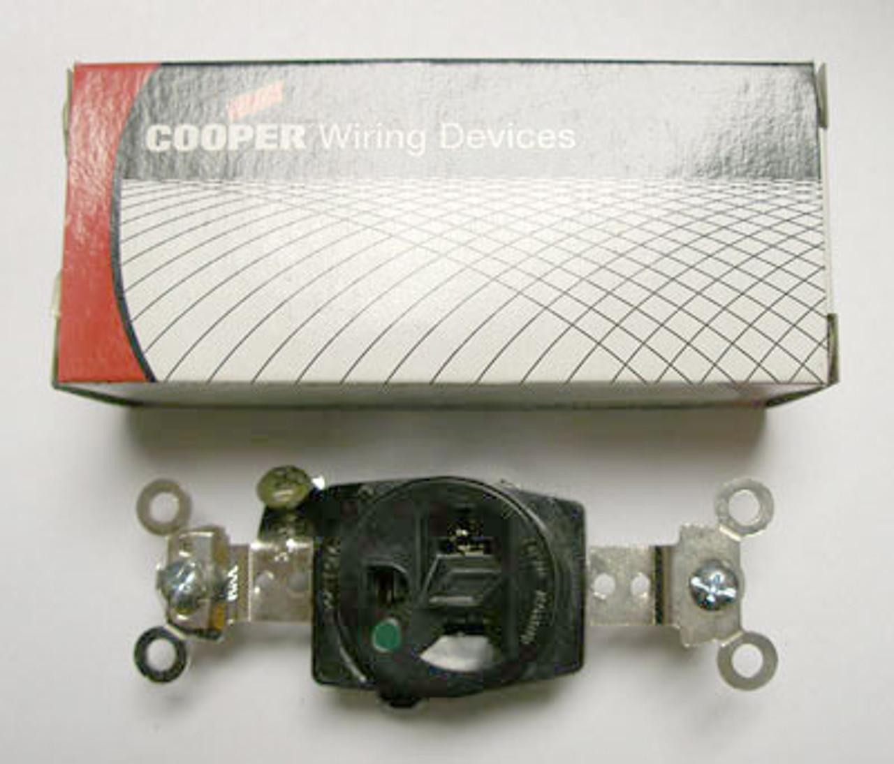 Cooper AH8310BL Black Single Receptacle - New