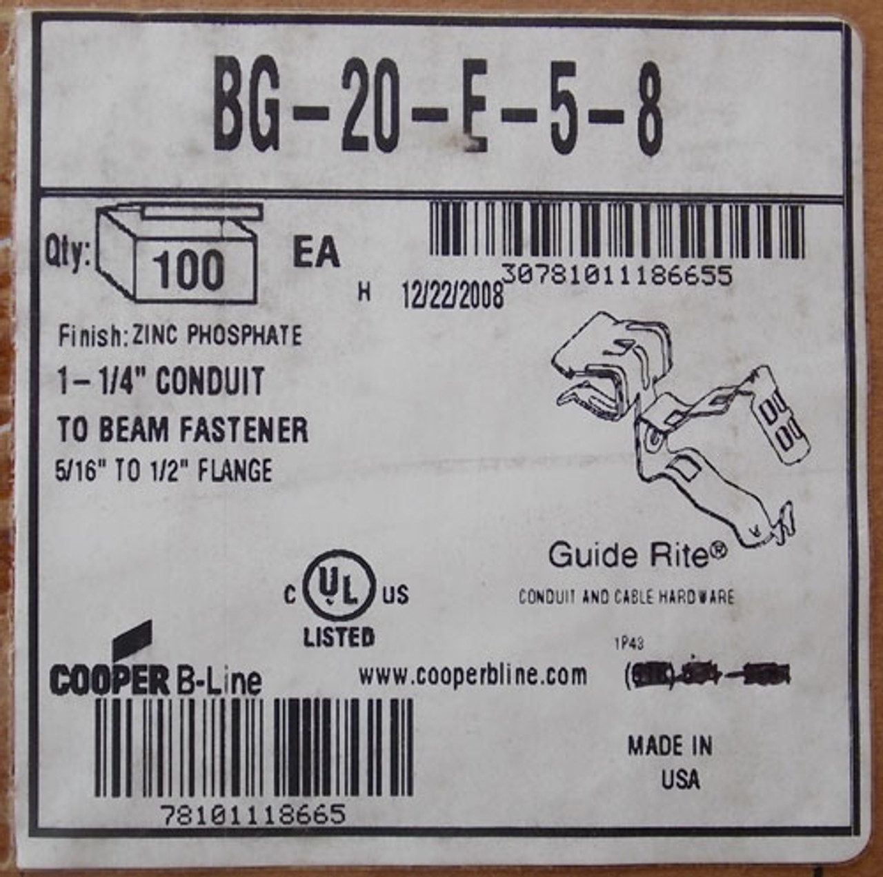 "Cooper BG-20-E-5-8 1-1/4"" Conduit to Beam Fastener Zinc Phosphate (Lot of 100) - New"