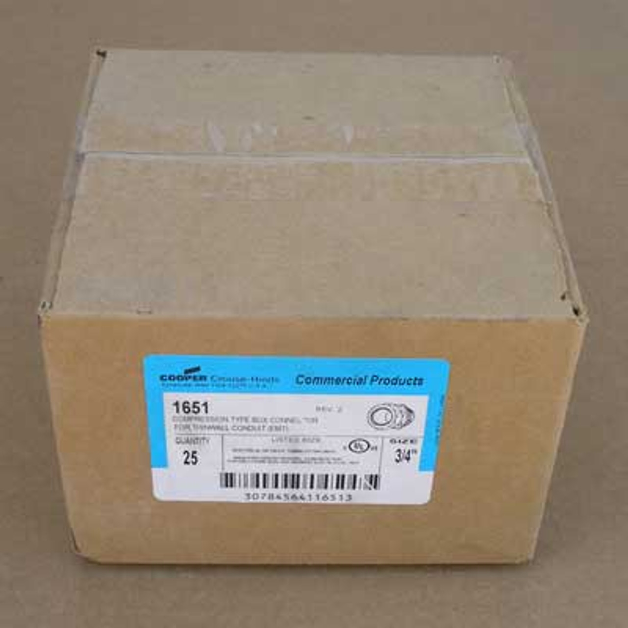 """Cooper Crouse-Hinds 1651 Compression Type Box Connector 3/4"""" (Lot of 25) - New"""