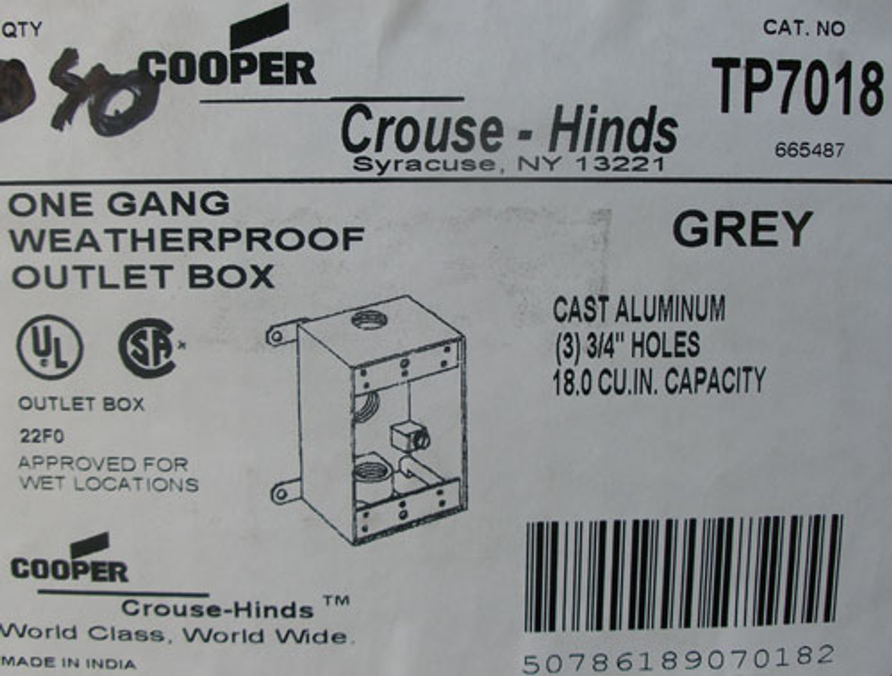 2Pc Cooper Crouse-Hinds TP7018 1G WP-3 3/4 Holes Outlet Box Grey - New