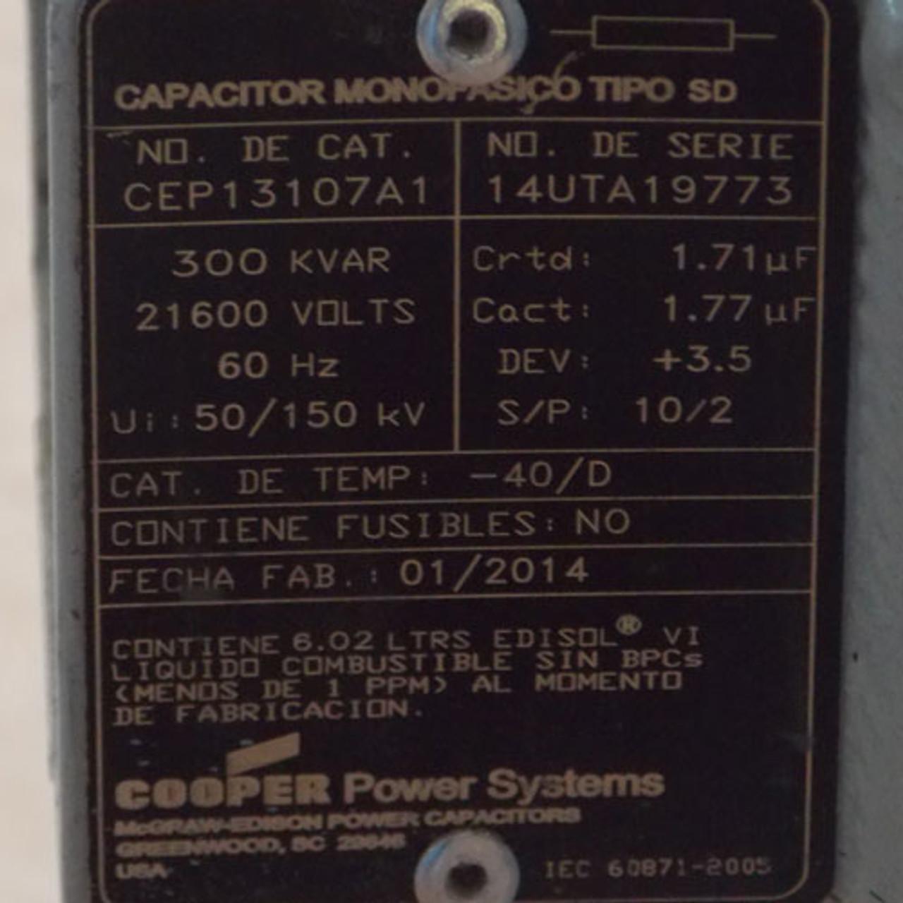 Cooper Power Systems CEP13107A1 300 KVAR 21600V Capacitor - New