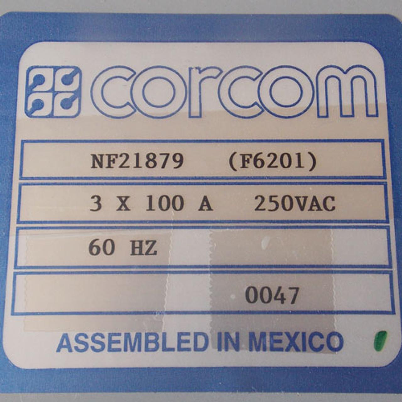 Corcom NF21879 (F6201) EMI Filter 3 x 100 Amps, 250 VAC 60Hz - Used