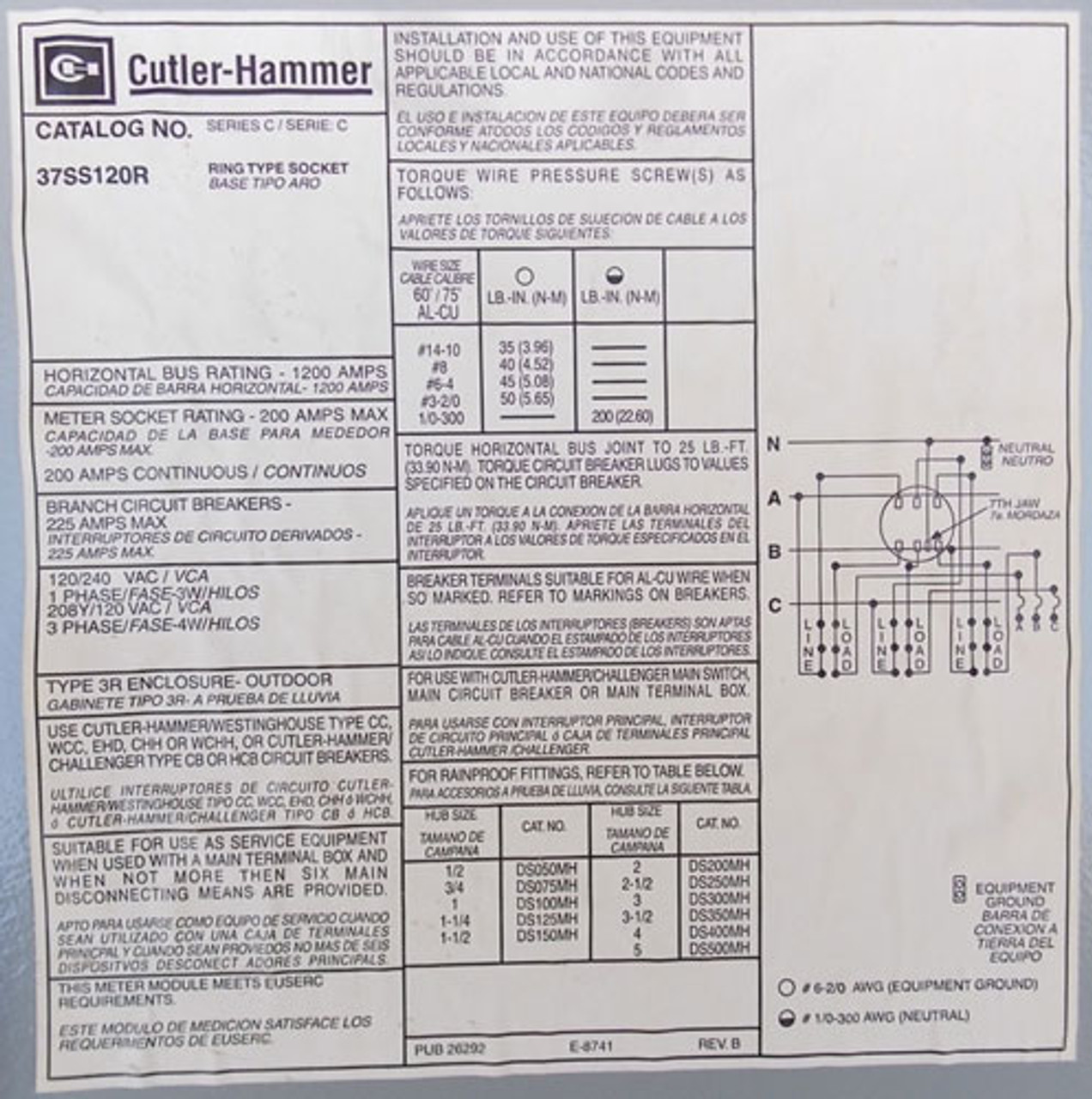 Cutler Hammer 37SS120R 1200A 208Y/120VAC 3Ph Main Bus Rating Single Meter Socket