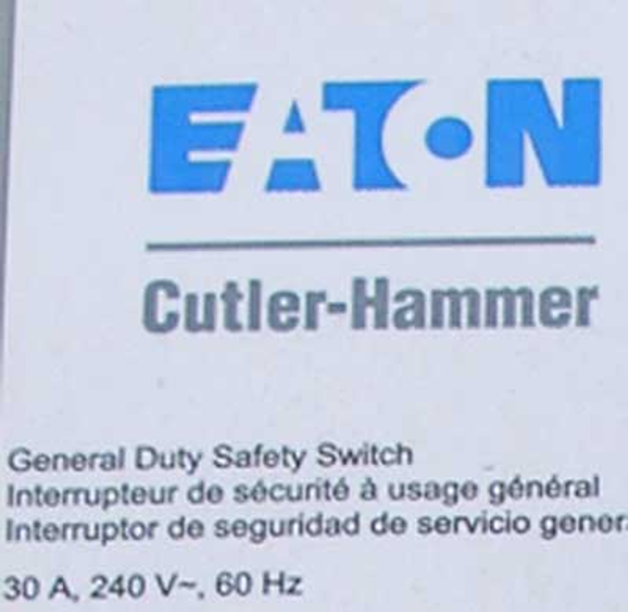 Cutler Hammer DG221URB Non-Fusible Safety Switch 30A 240V Nema 3R - New
