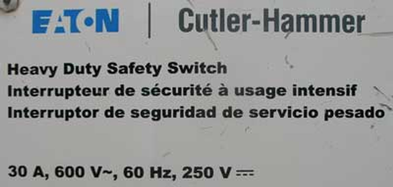 Cutler Hammer DH361UGK HD Non-Fusible Safety Switch 30A 600VAC Nema 1