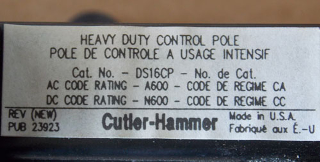 """Cutler Hammer DS16CP Heavy Duty Control Pole Kit for """"K"""" Switches - New"""