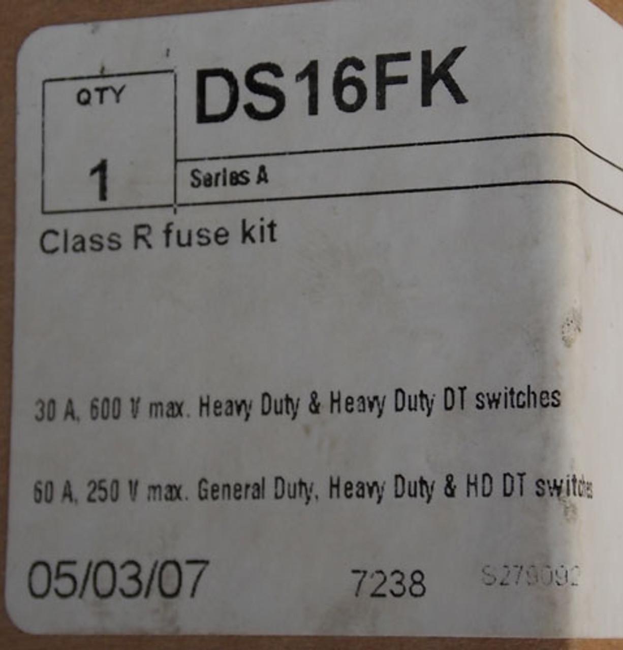 Cutler Hammer DS16FK 30 Amp 600 Volt Class R Fuse Kit