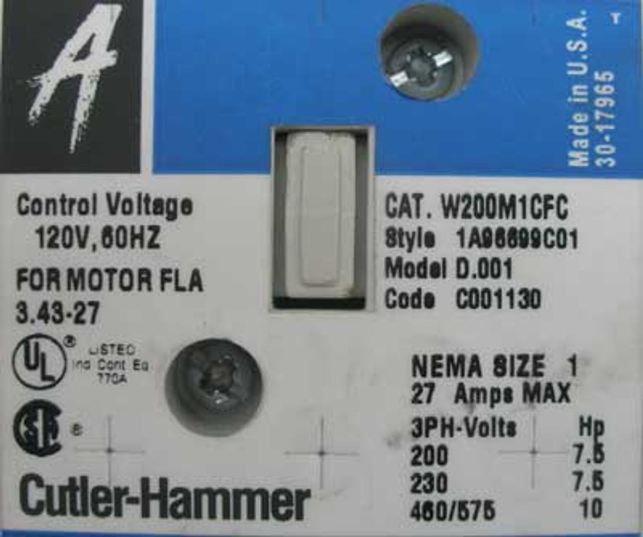 Cutler Hammer ECA2212CHC Size 1 Combo Starter 30A 600V Nema 3R