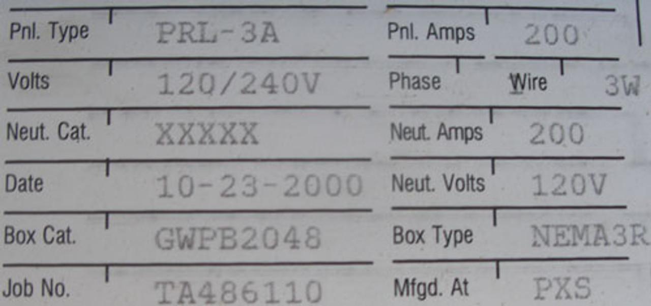 Cutler Hammer PRL-3A 200A MCB 120/240V 1PH 3W Transfer Switch Nema 3R - New