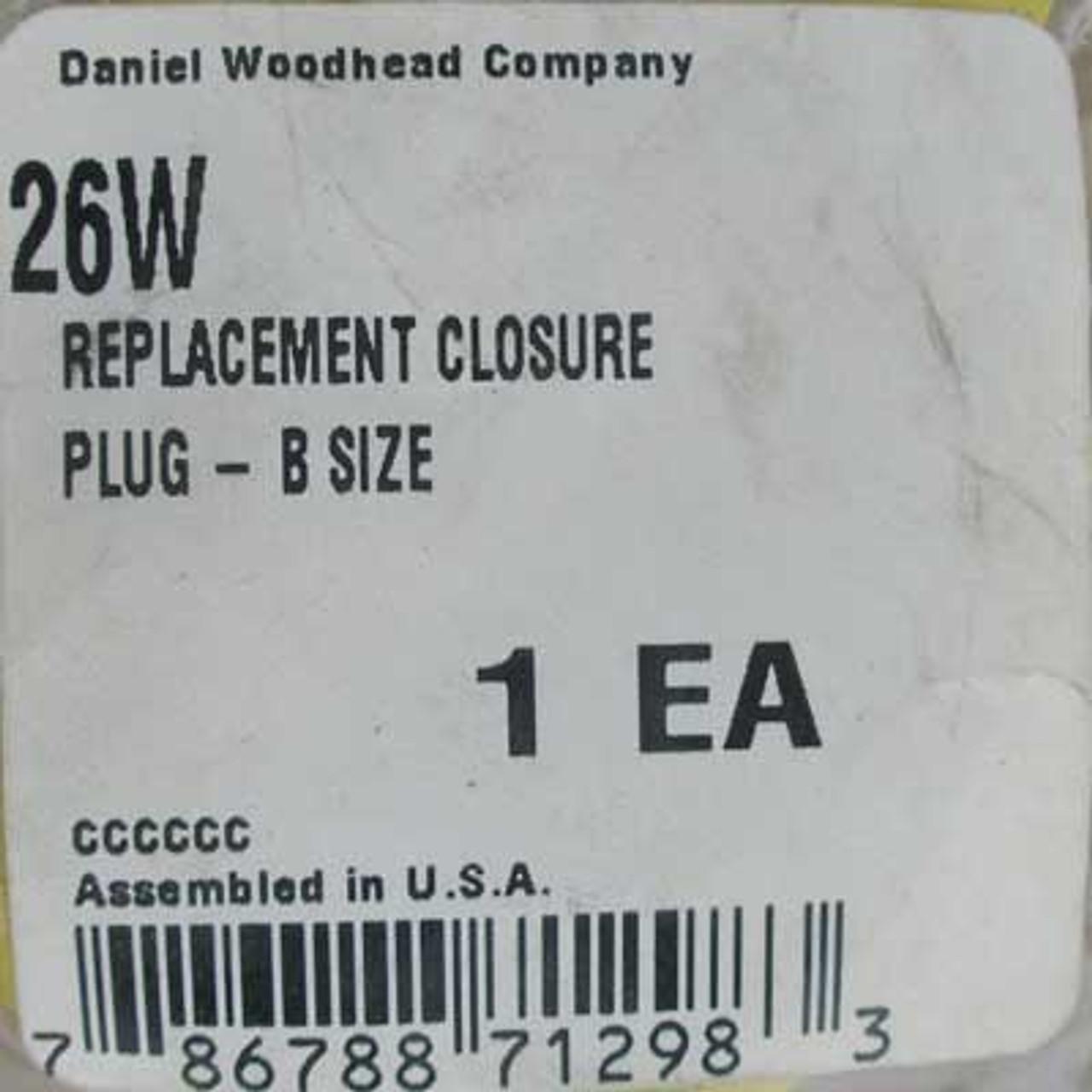 Daniel Woodhead 26W Replacement Closure Plug - B Size