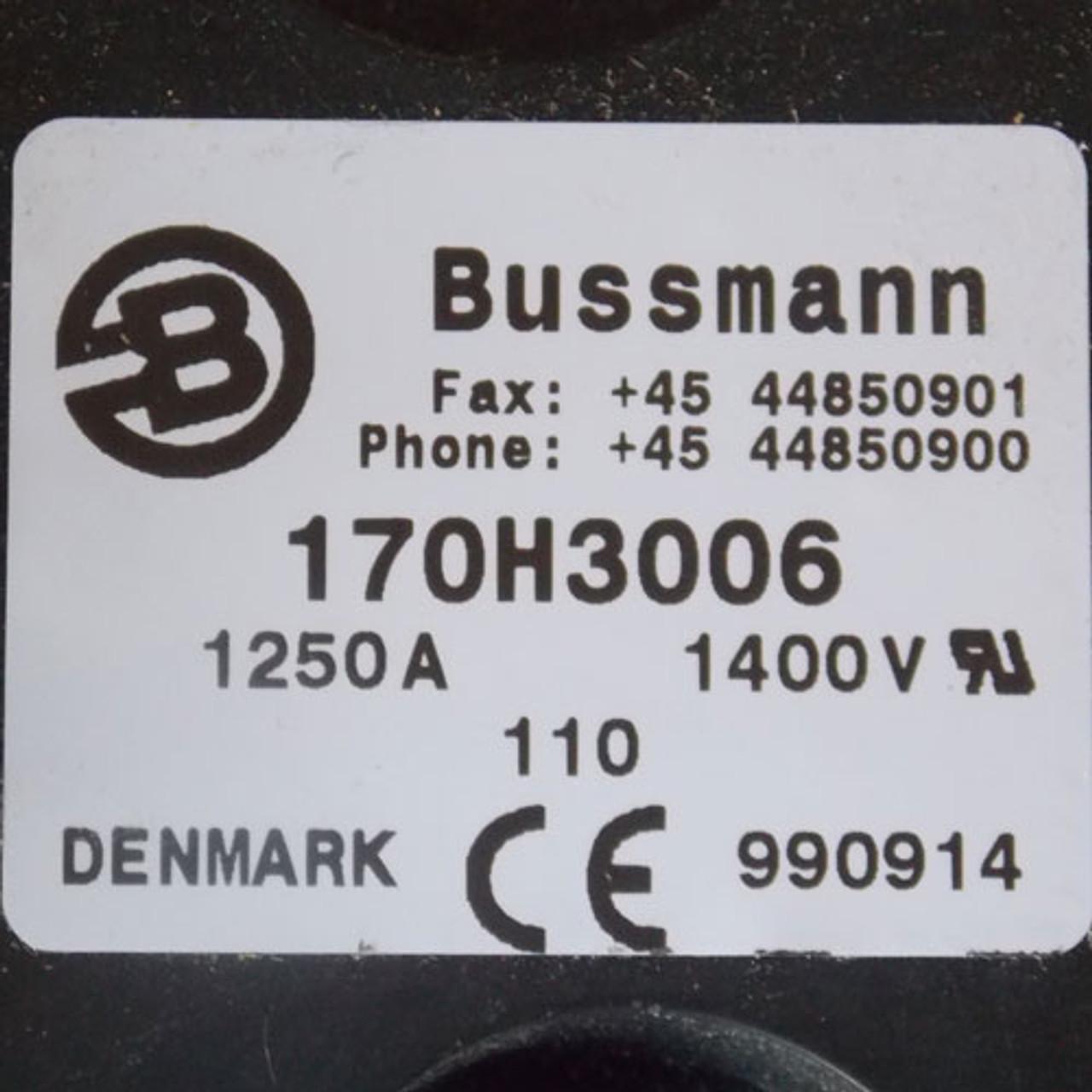 Denmark Bussmann 170H3006 1250 Amp 1400 Volt Fuse Base - New