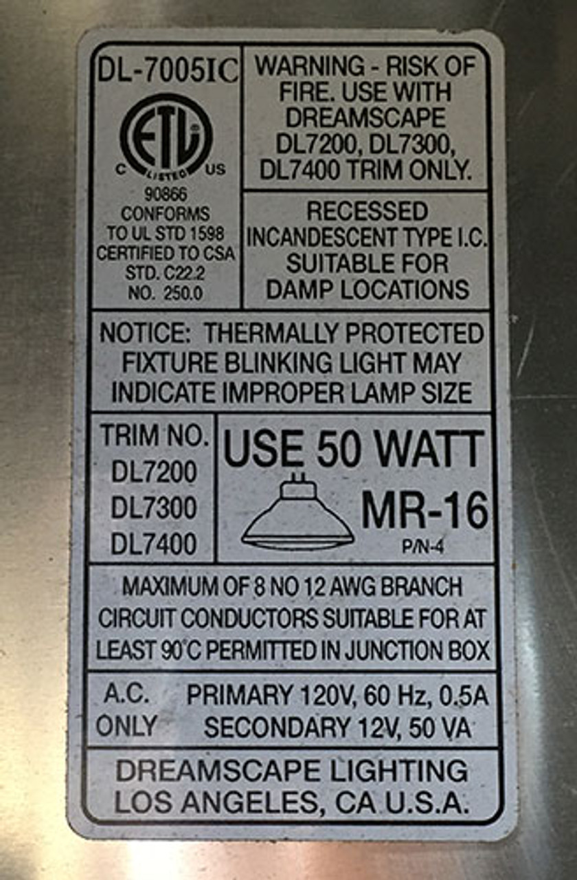 Dreamscape DL-7005-IC-FT Recessed Low Voltage IC Rated Adj Downlight - New