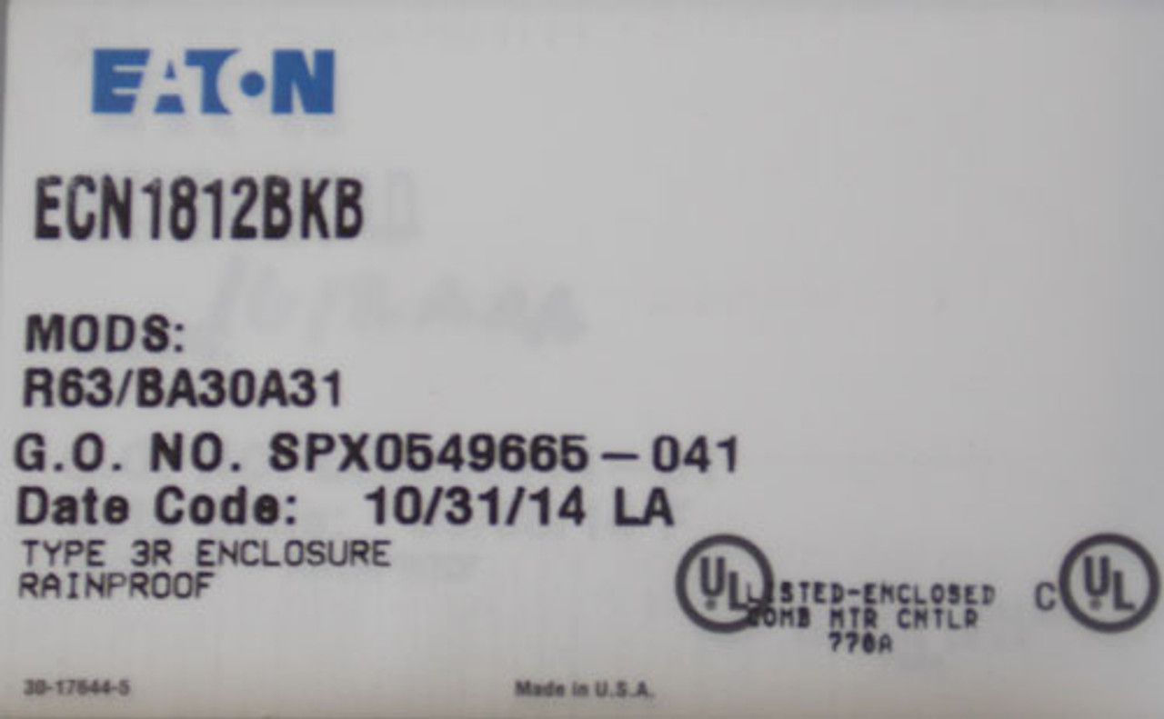 Eaton ECN1812BKB Size 1 Combination Starter 3PH 240V Nema 3R - New