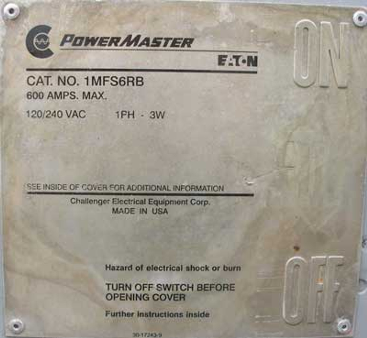 Eaton PowerMaster 1MFS6RB Disconnect Switch 1PH 3W 600A 120/240VAC - Used