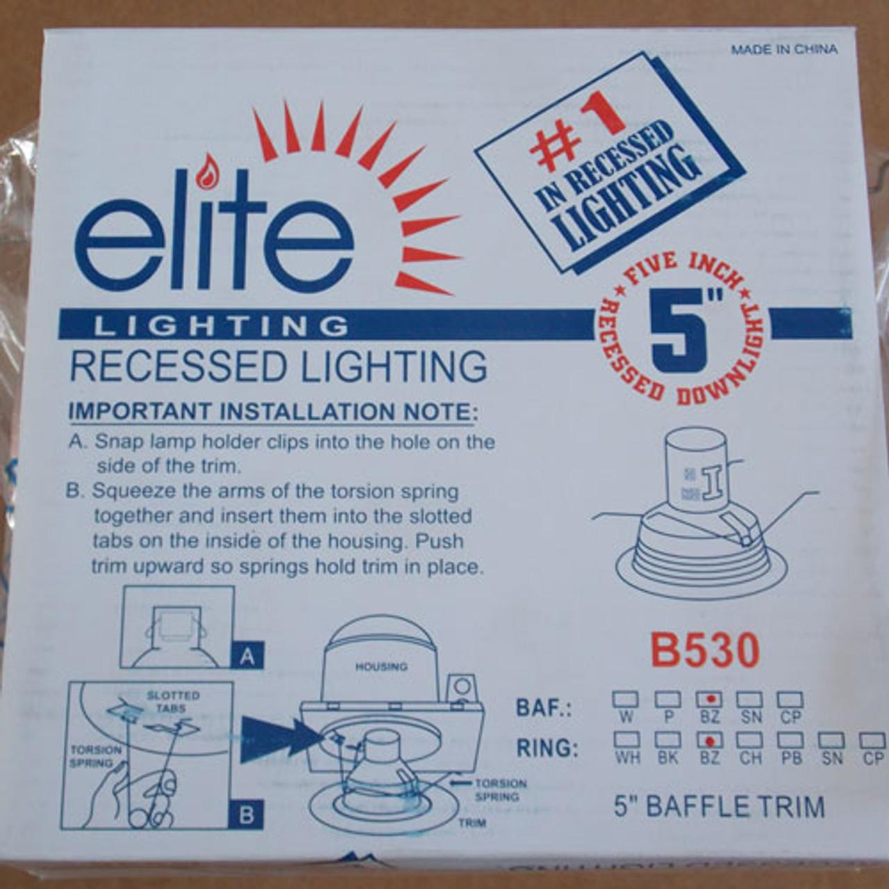 "Elite Lighting B530BZ-BZ 5"" Recessed Bronze Baffle & Trim - New"