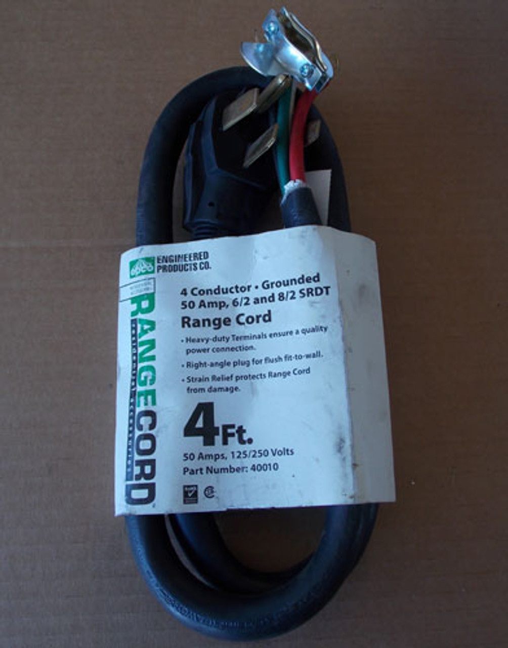 Engineered Products 40010 4Ft Range Cord 50A,125/250V 4 Conductor-Grounded