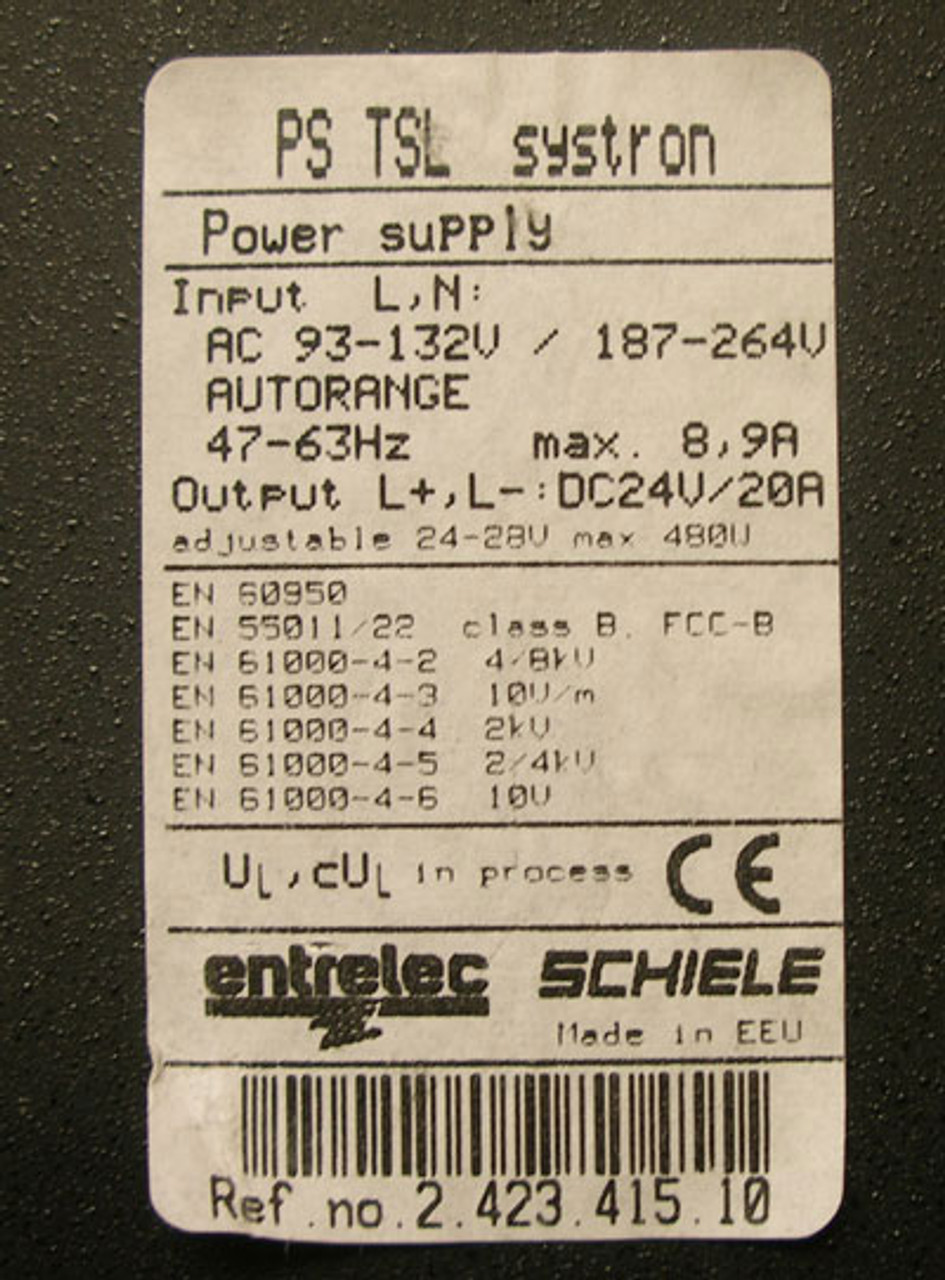 Entrelec Systron Switching Power supply 24 V DC / 20 A