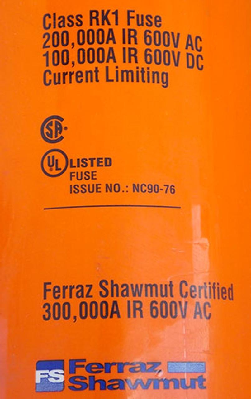Ferraz Shawmut A6D600R 600 Amp 600VAC Class RK1 Time Delay Fuse - New