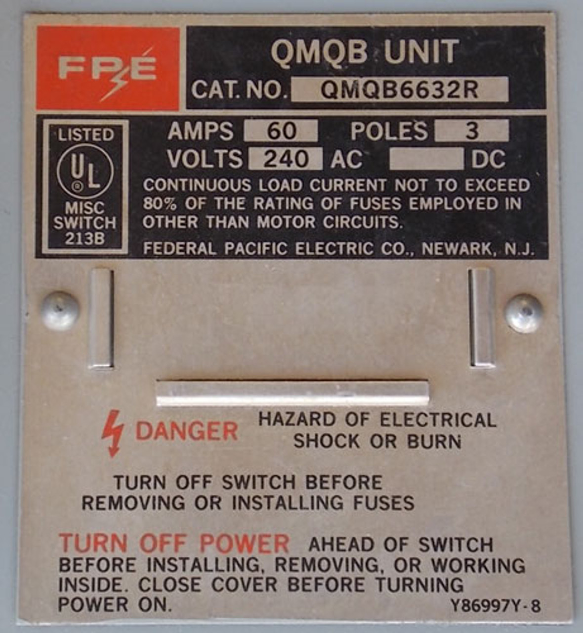 FPE QMQB6632R 60A 240V 3 Phase Twin Fusible Switch - Reconditioned