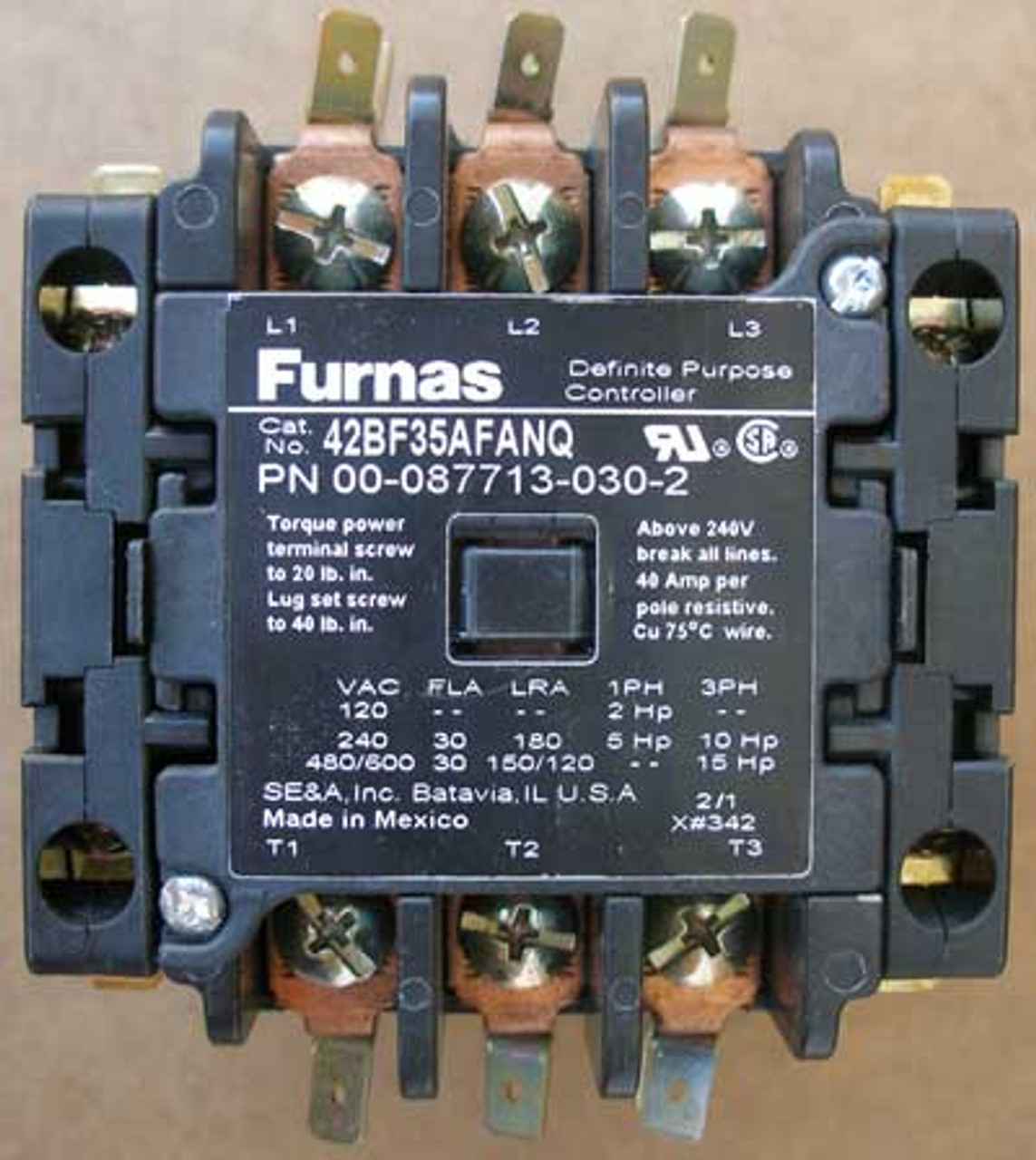Furnas 42BF35AFANQ Definite Purpose Controller 30A 3P  110/120V Open