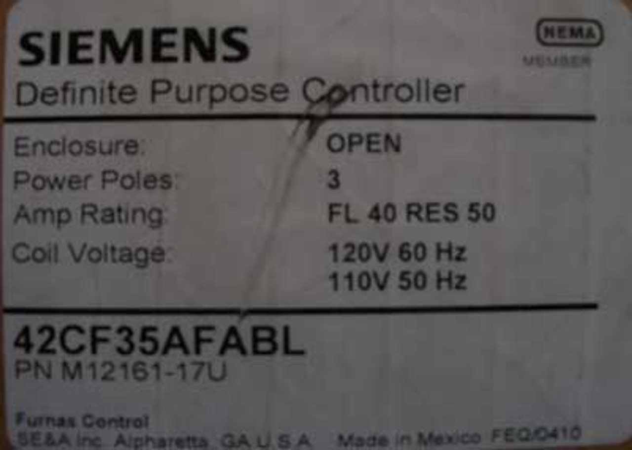 Furnas 42CF35AFABL 3 Pole 40 Amp Definite Purpose Controller 120V - New