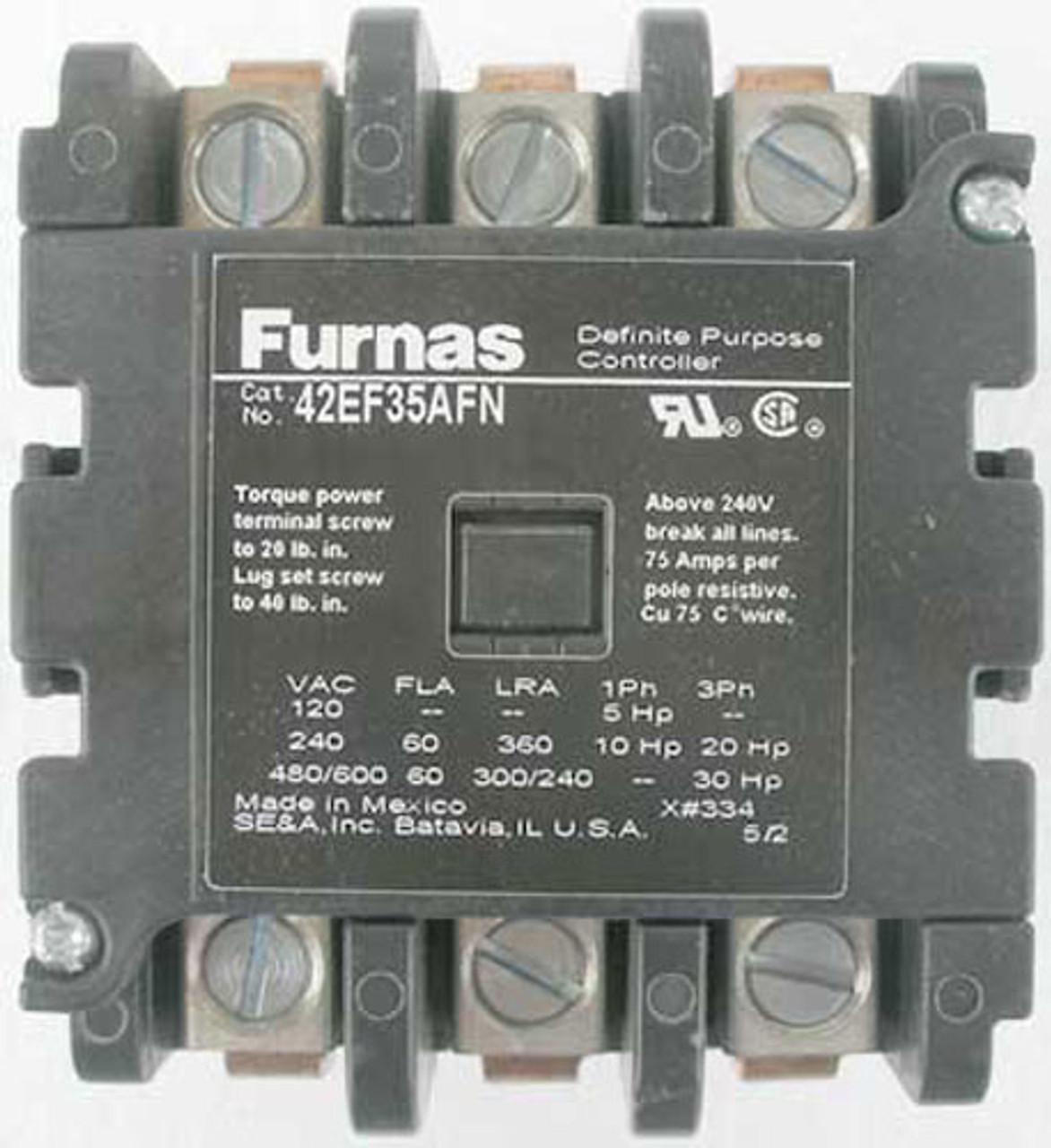 Furnas 42EF35AFN 3 Pole, FL 60 Amp, Definite Purpose Controller - New