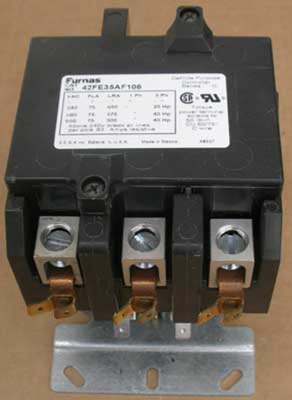 Furnas 42FE35AF106 3 Pole Def Purpose Contactor 24V Open - Used