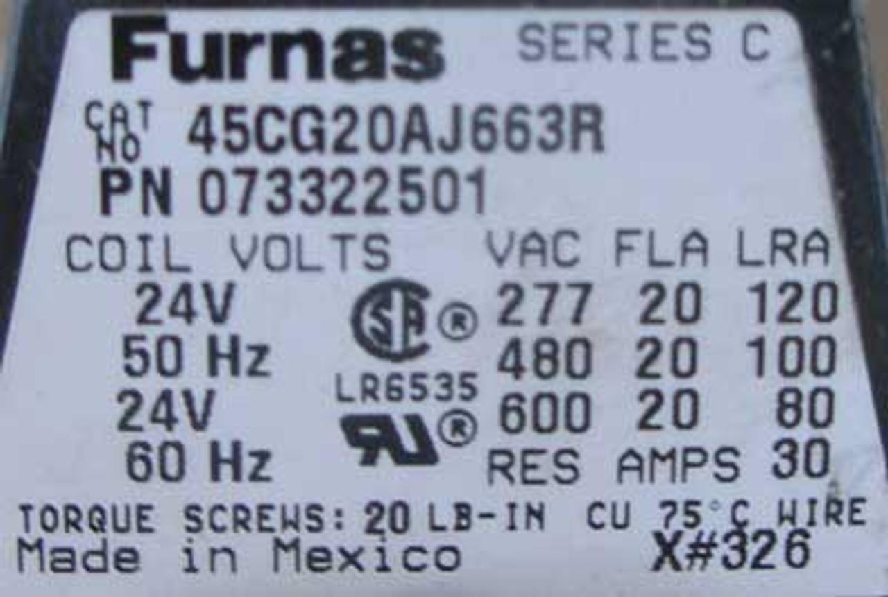 Furnas 45CG20AJ663R 2P 20A 24V Contactactor Open - Used