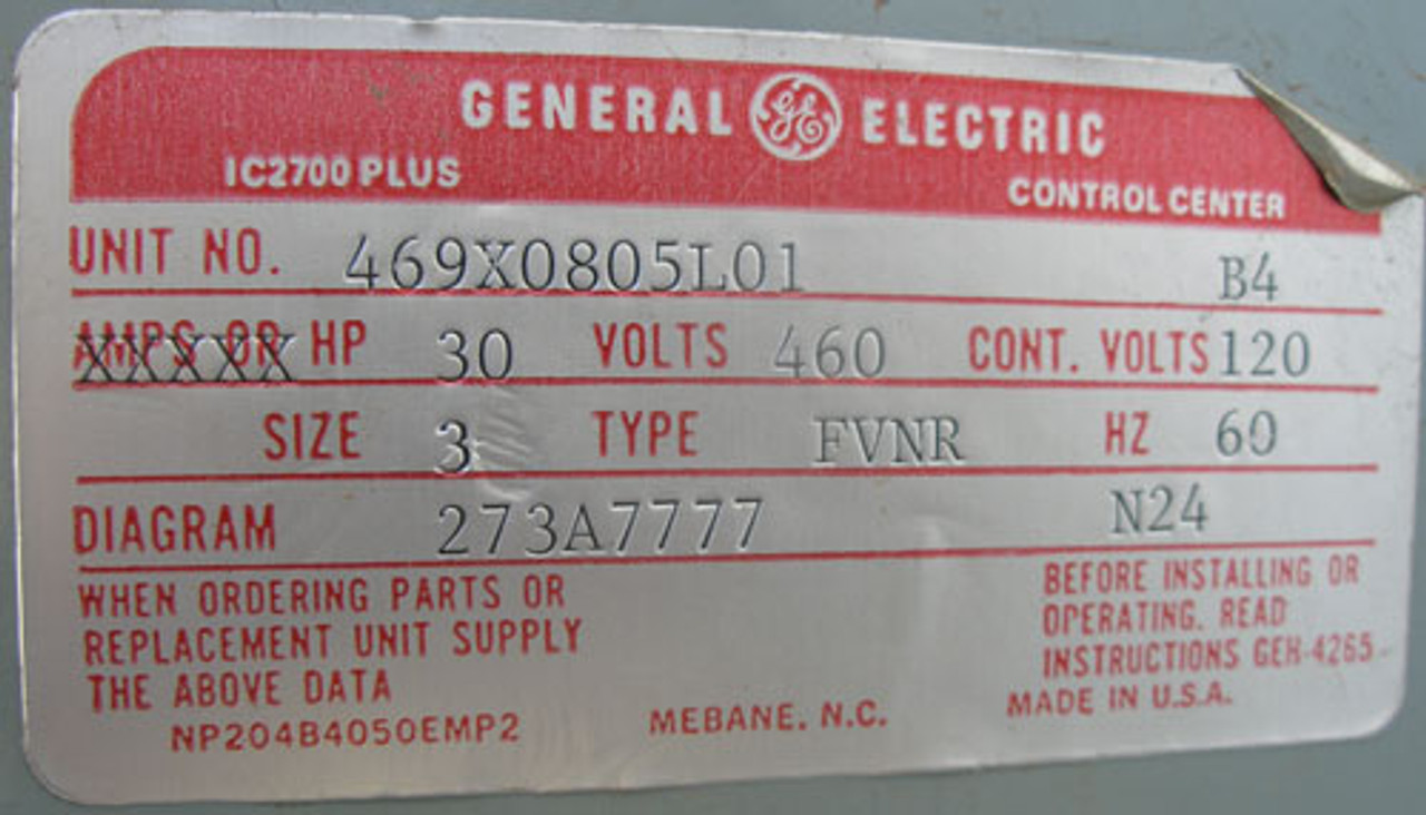 General Electric 469X0805L01 B4 8000 Line 460V Type FVNR Size 3 Bucket - Used