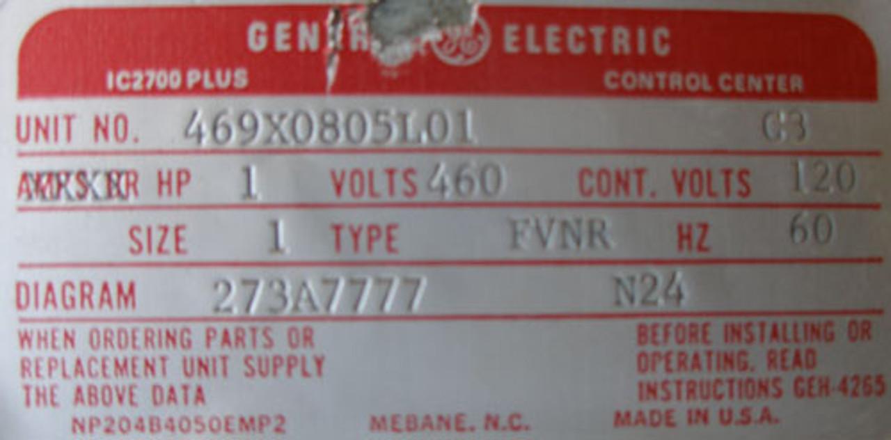 General Electric 469X0805L01 C3 8000 Line 460V Type FVNR Size 1 Bucket - Used