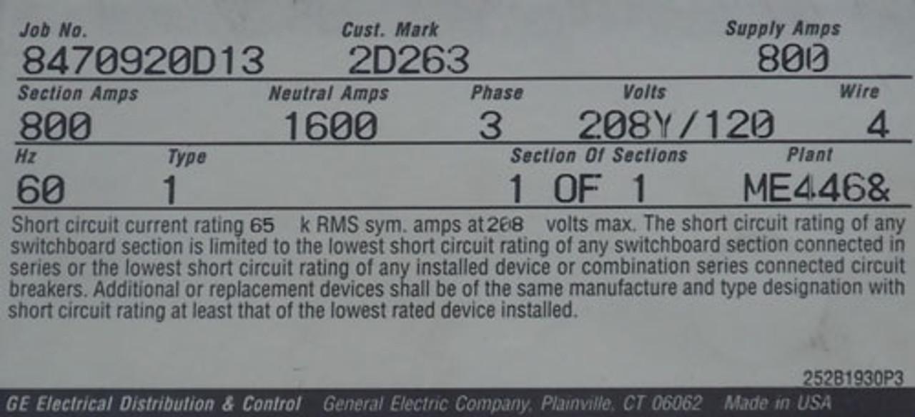 GE 800A 208Y/120V 3Ph Switchboard w/ Hi-Break Main Circuit Breaker N1 - Reconditioned