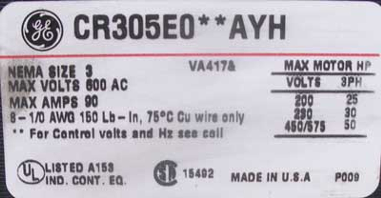 General Electric 841X0271F01AAI Type FVNR 8000 Line Size 3 Feeder Bucket 3PH 480V - New