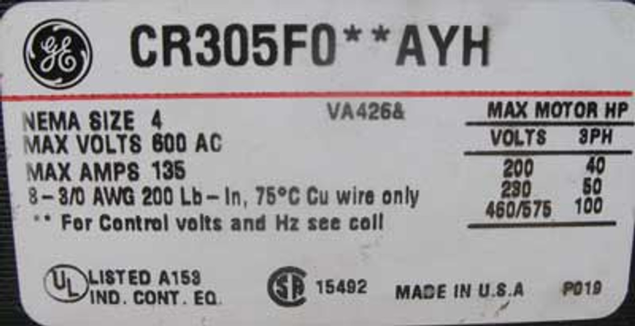 General Electric 843X0626T01 Type FVNR 8000 Line Size 4 Feeder Bucket 3PH 480V - New