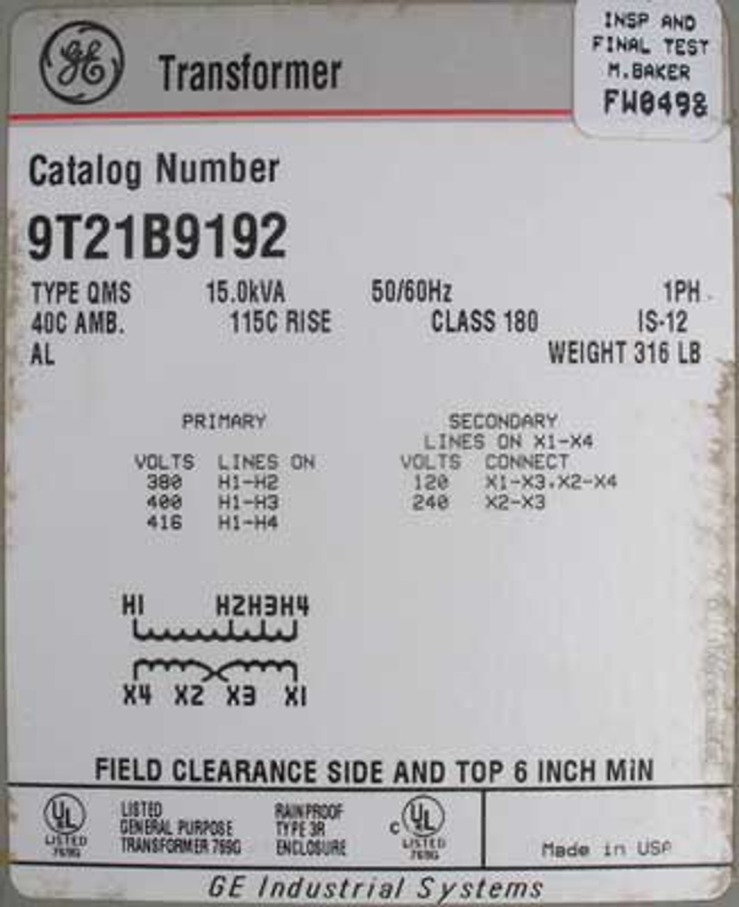 GE 9T21B9192 - 15.0 KVA 380 TO 120/240 Volt 1PH Transformer - New