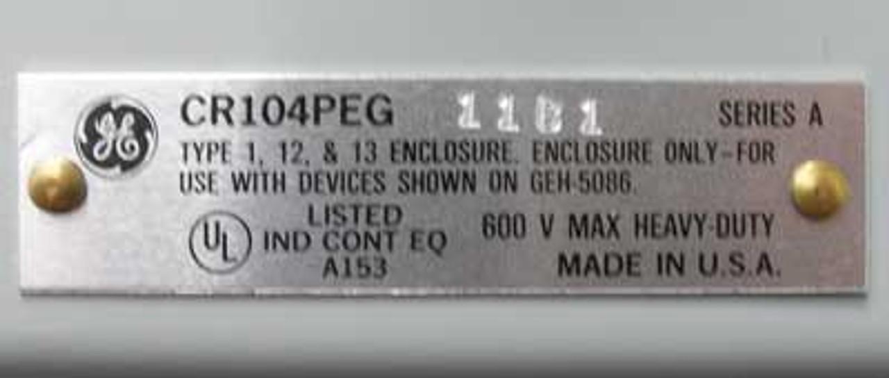GE CR104PEG-11B1 Off/On 2 Position Selector Switch, NEMA 12 Enclosure - New