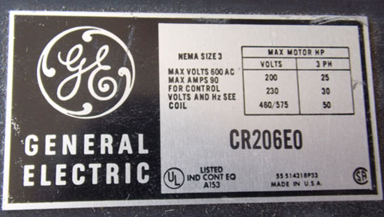 GE CR206E0 Size 3 Magnetic Starter 3 Phase 90 Amp 600V 460V Coil - Used