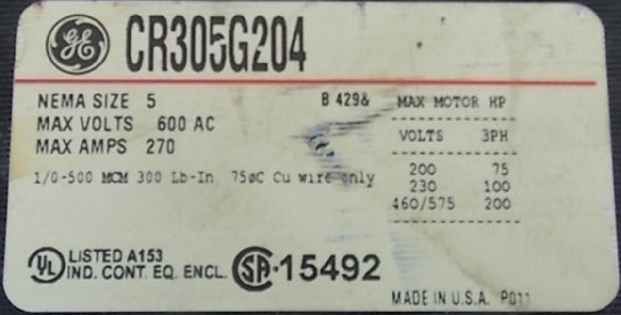 GE CR305G204 Size 5 Magnetic Contactor 270A 3PH 460-480V Coil - Used