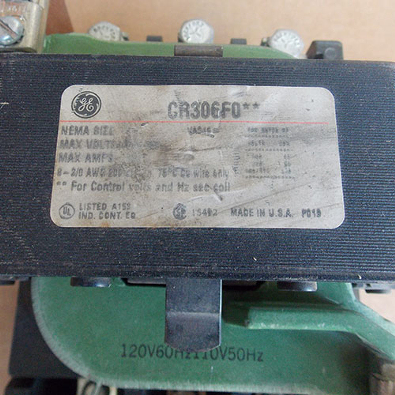 GE CR306F0** Size 4 Magnetic Starter 3 Pole 120 Volts Coil - Used