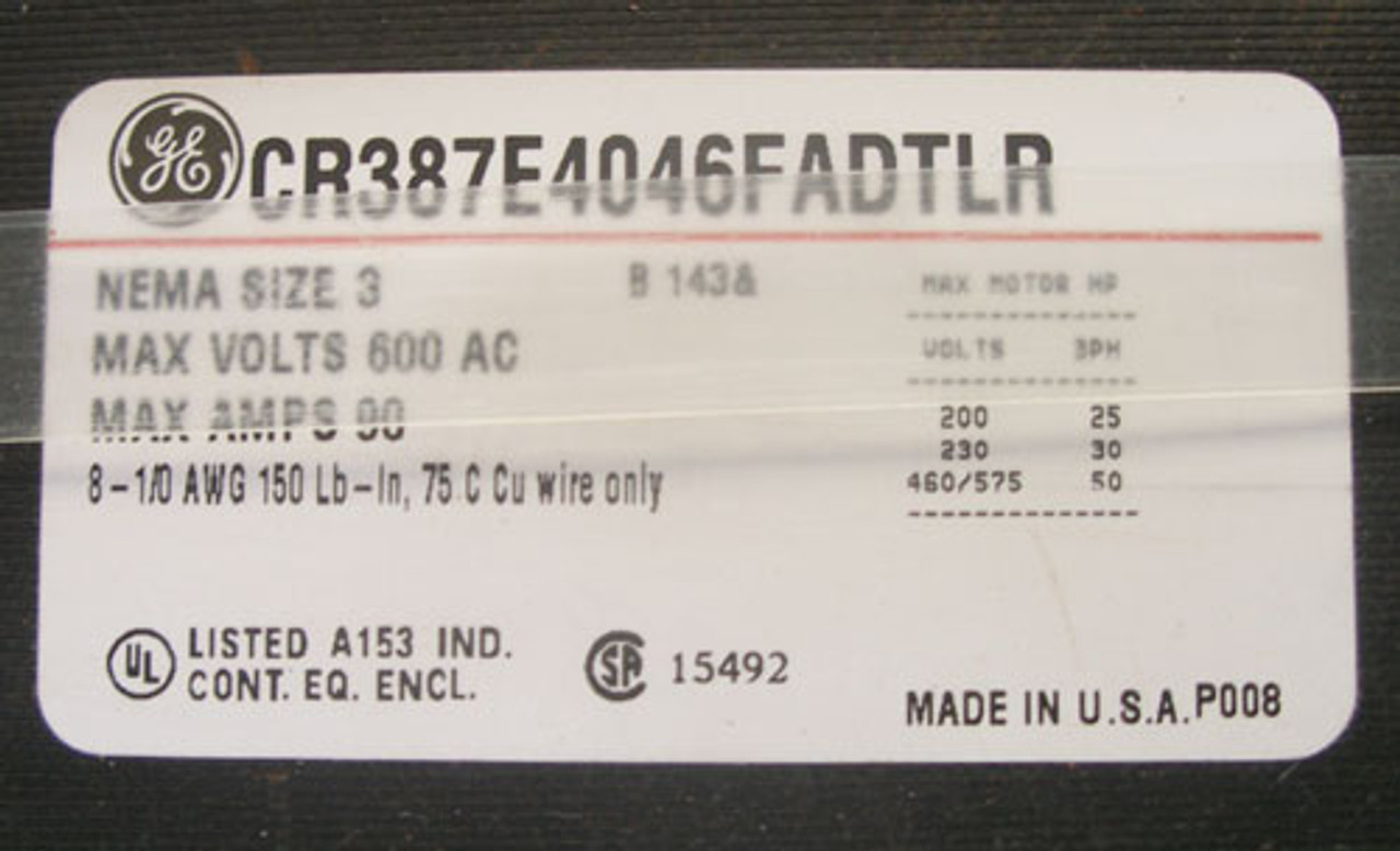 GE CR387E4046FADTLR SS Size 3 Combination Starter 3P 90A 600V N4X - Used