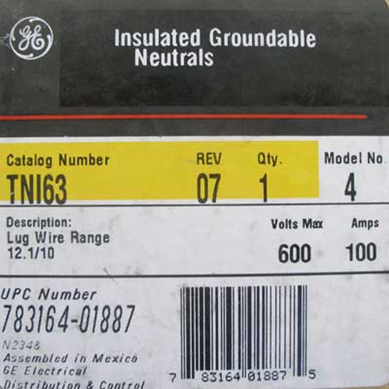 GE Insulated Groundable Neutrals TNI63 100 Amp 600V